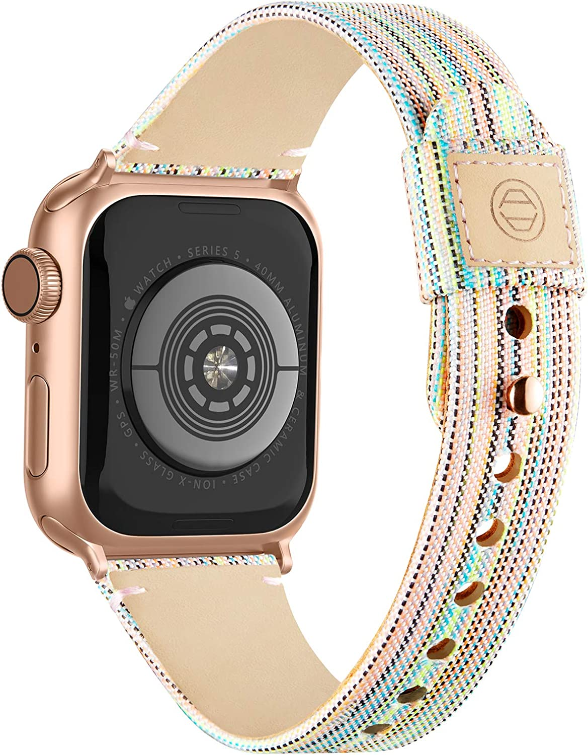 Compatible with Apple Watch Band 38mm 40mm 42mm 44mm for Women Men, Slim Fabric Canvas Band with Soft Leather Lining and Snap Button for Apple Watch Series 6/5/4/3/2/1 SE, Rainbow 38/40mm