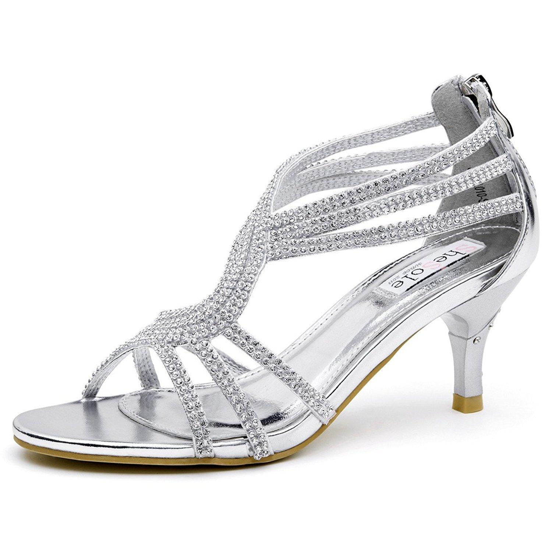 SheSole Women's Low Heel Dance Wedding Sandals Dress Shoes Silver US 8