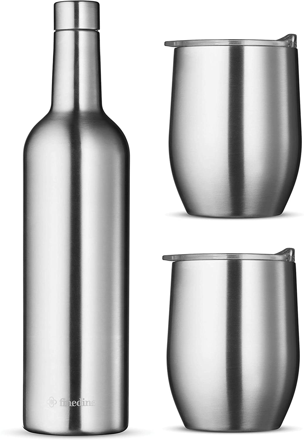 Wine Chiller Gift Set - Vacuum Insulated Wine Bottle 750ml & Two Wine Tumbler With Lids 16oz. Made of Shatter Proof 18/8 Stainless Steel & BPA FREE Lids, Perfect Wine Glasses for Travel, Picnic, Etc.