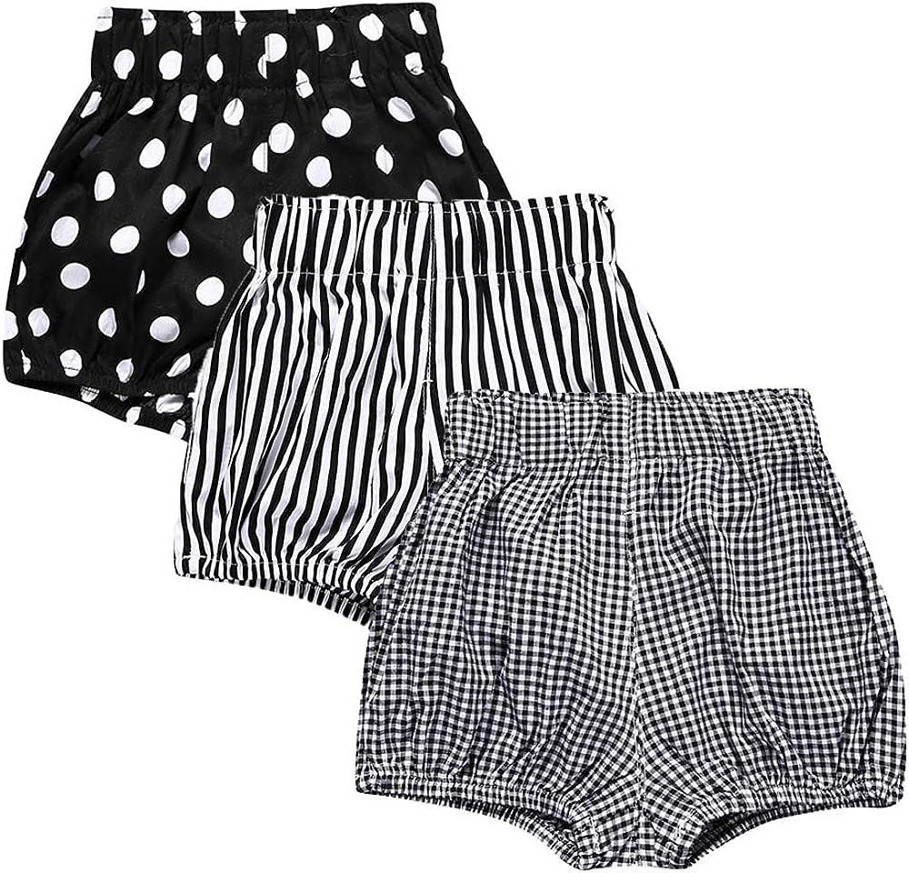 Kids Tales 3Pcs Baby Girls Boys Cotton Linen Blend Bloomers Shorts Cute Shorts