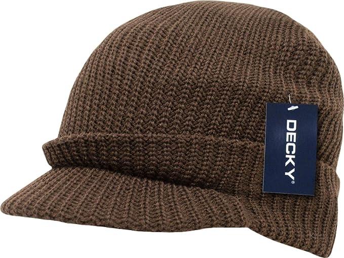 Amazon.com  Solid Brown Jeep Radar Billed Beanie Stocking Cap Hat ... a94b95a13b2
