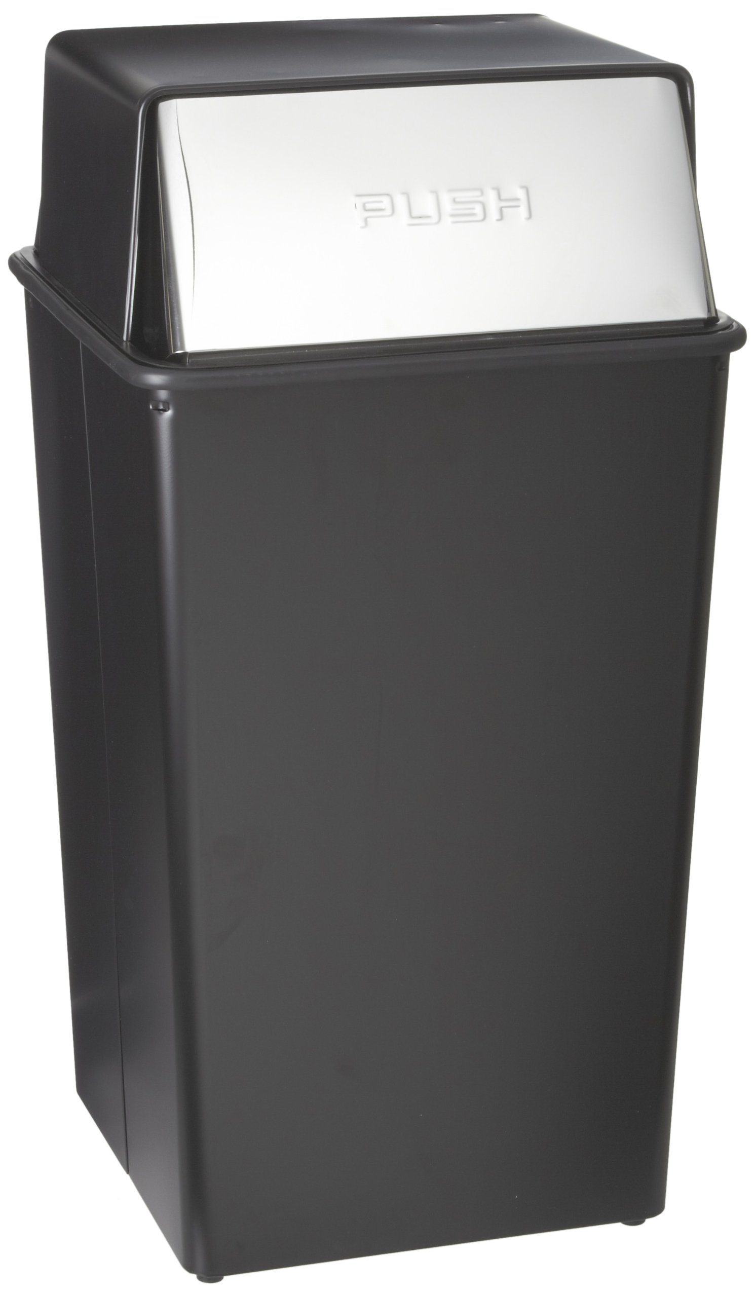Witt Industries 36HT-22 Steel 36-Gallon Monarch Series Hamper and Push Top Receptacle, Legend ''Push'', Square, 19'' Width x 19'' Depth x 37'' Height, Black by Witt Industries