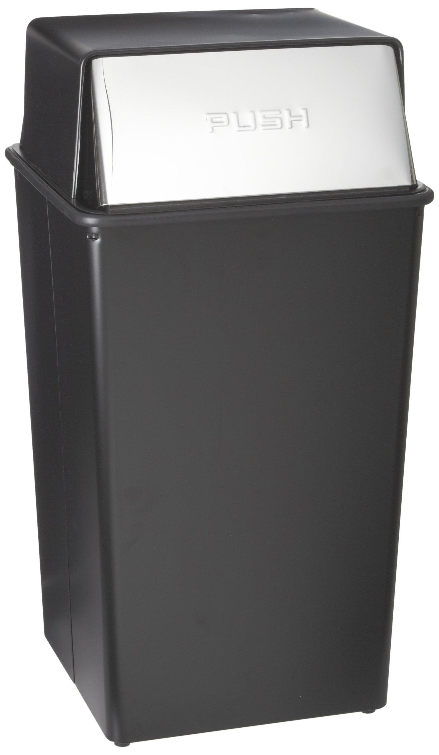 Witt Industries 36HT-22 Steel 36-Gallon Monarch Series Hamper and Push Top Receptacle, Legend ''Push'', Square, 19'' Width x 19'' Depth x 37'' Height, Black