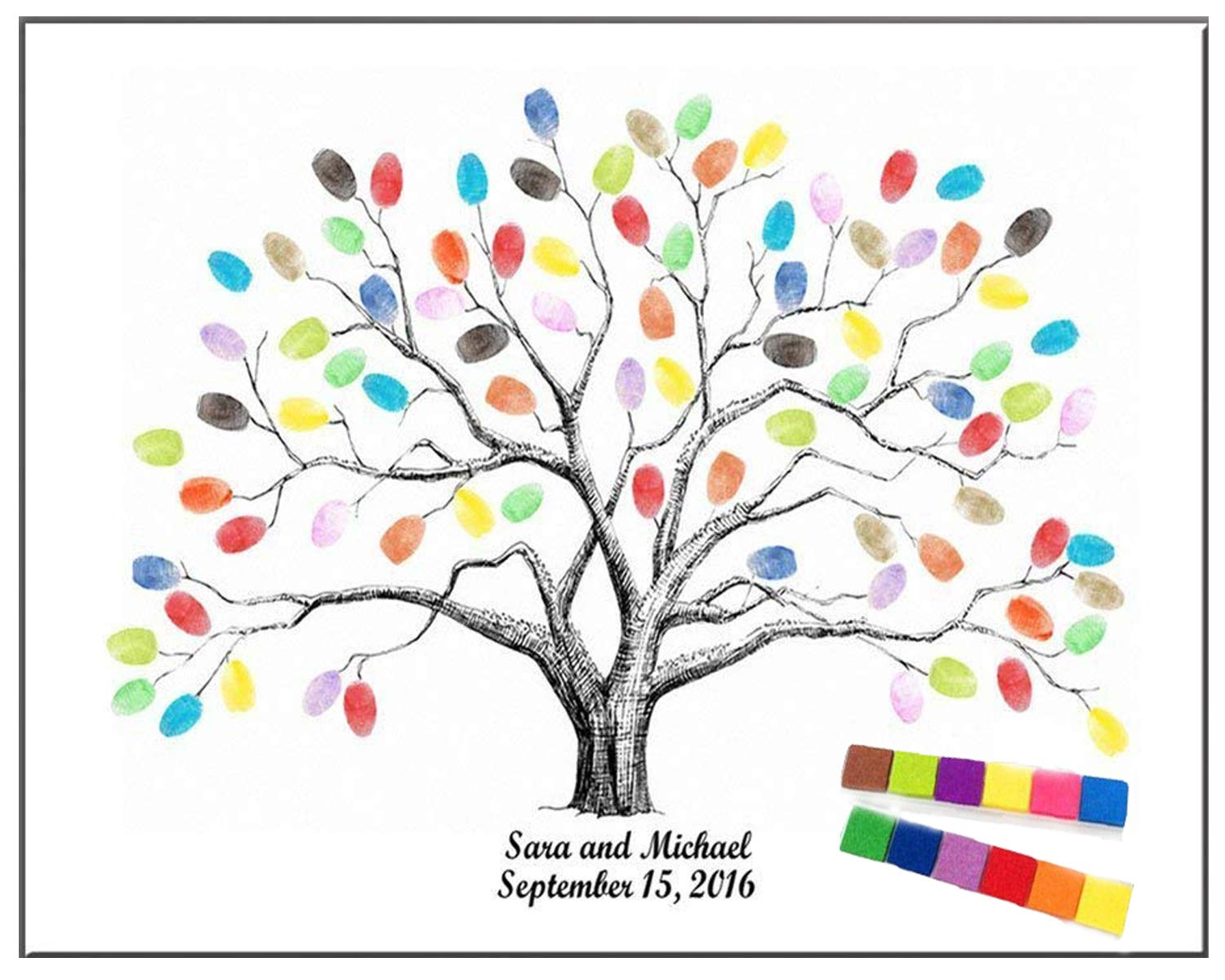 shelling home Thickening Waterproof Fingerprints Tree, 23.6'' Creative DIY Guest Signature Sign-in Book Canvas Fingerprints Tree Painting for Wedding Birthday Party with 12 PCS Ink Pads