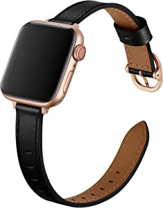 OUHENG Slim Bands Compatible with Apple Watch Band 40mm 38mm 44mm 42mm, Women Genuine Leather Thin Band Replacement Strap for iWatch SE Series 6 5 4 3 2 1 (Black/Rose Gold, 40mm 38mm)