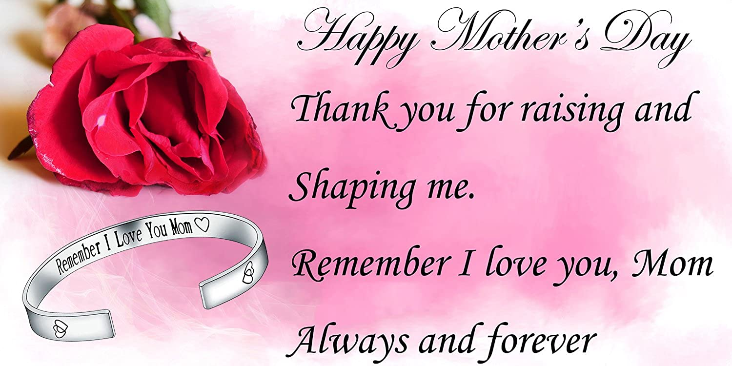 Amazon Silver Plated Cuff Bangle Remember I Love You Mom Forever And Always Mothers Day Gift Jewelry