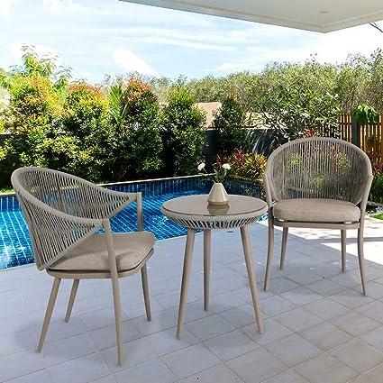 Rope Patio Furniture.Amazon Com Nuu Garden Dw101 Kf Stationary Aluminum Woven Rope