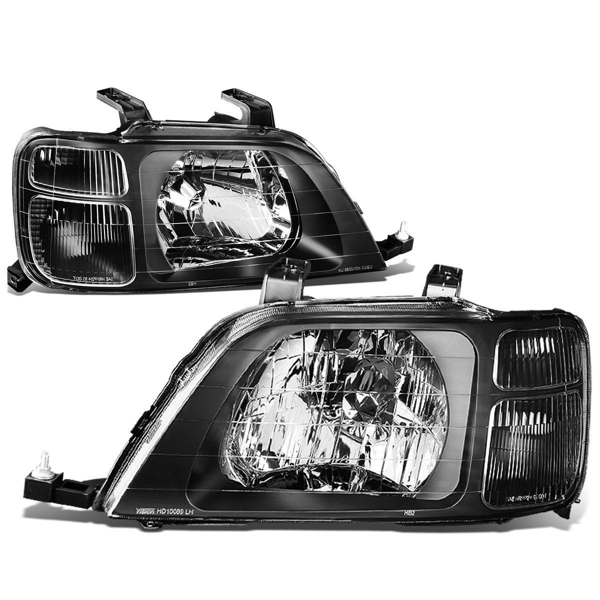 DNA MOTORING HL-OH-042-BK-CL1 Headlight Assembly, Driver and Passenger Side