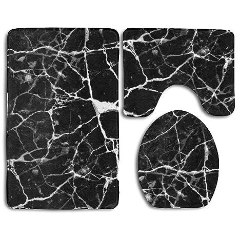 Ensemble De Tapis De Bain Marbre D Impression Noir Blanc Skidproof