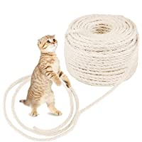 O'woda Cat Natural Sisal Rope for Scratching Post Tree Replacement, 1/4 inch Diameter, Natural Dyes, for Repairing…