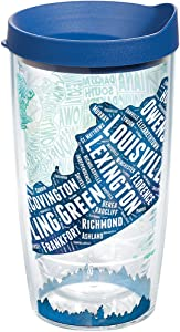 Tervis Kentucky Typography Map Insulated Tumbler with Wrap and Blue Lid, 16oz, Clear