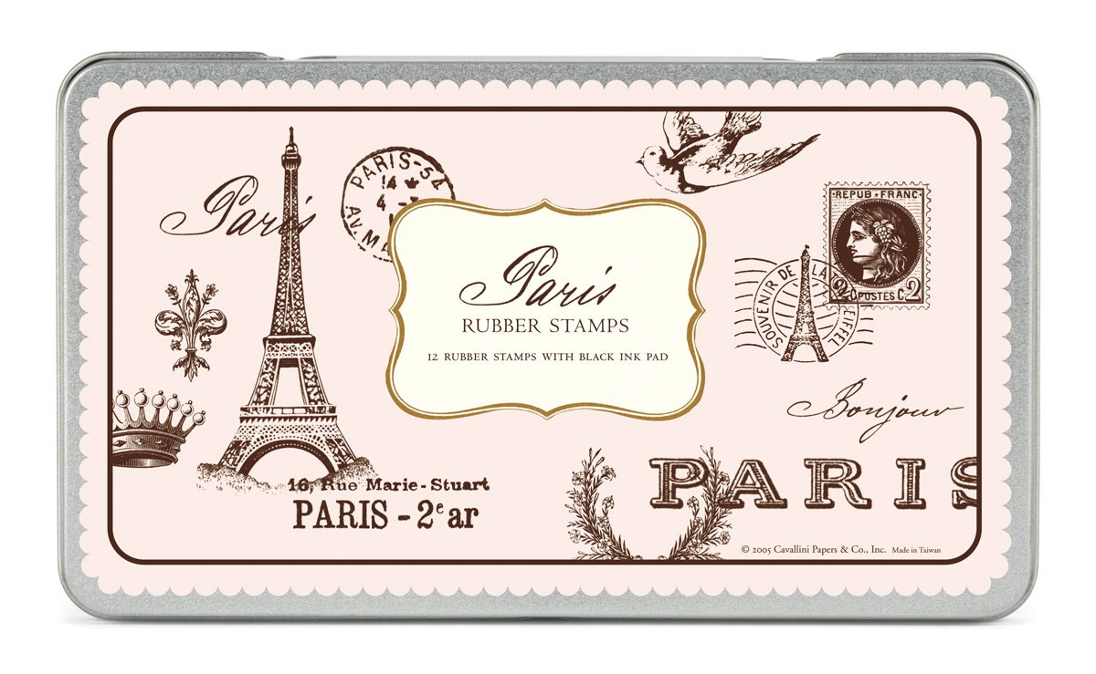 Cavallini Rubber Stamps Paris, Assorted with Ink Pad