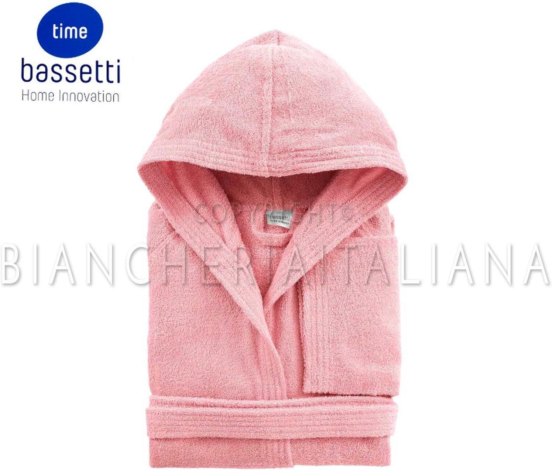 100//% Baumwolle aus Frottee verschiedene Farben Bassetti Time Bademantel mit Kapuze und Taschen