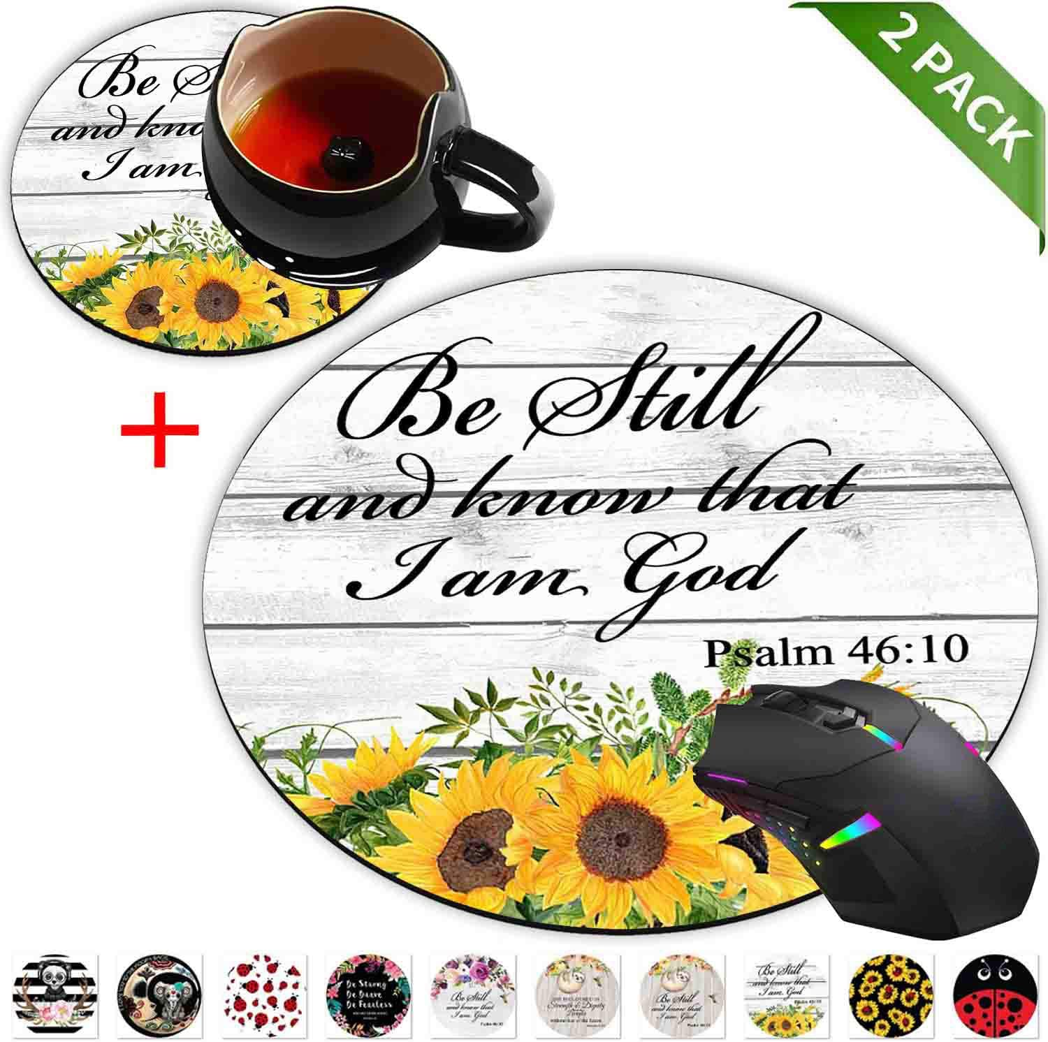 Round Mouse Pad and Coasters Set, Psalm 46:10 Christian Bible Sunflowers Yellow Watercolor Floral Mousepad, Anti Slip Rubber Round Mousepads Desktop Notebook Mouse Mat for Working and Gaming