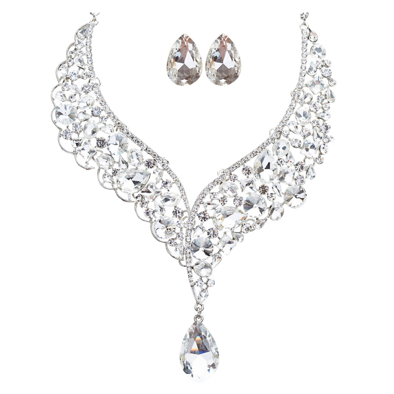 Bridal Wedding Jewelry Crystal Rhinestone Exquisite Embedded Necklace J505 SLV