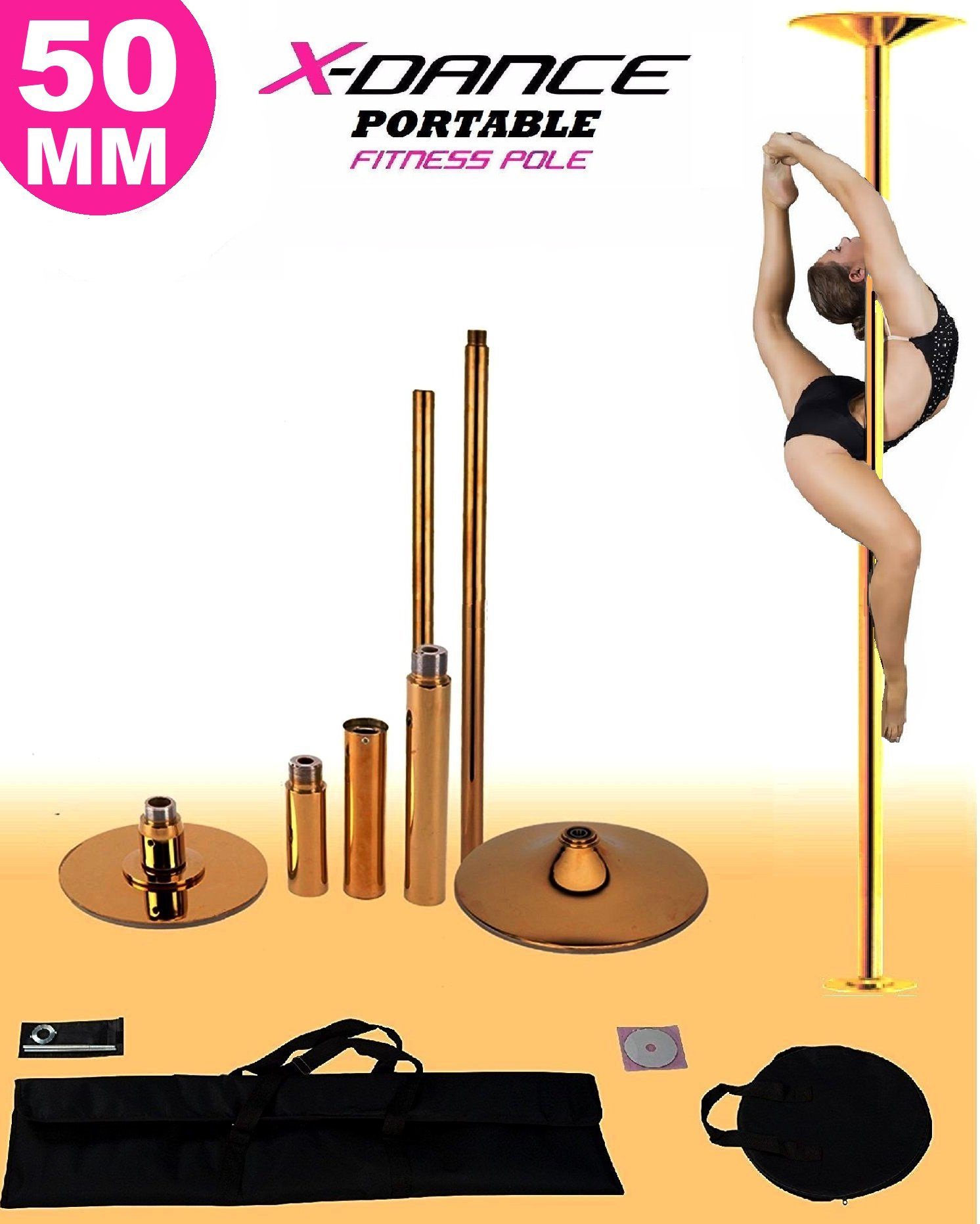 X-Dance 50mm Gold Chrome 9Ft Dance Pole Portable Fitness Exercise Exotic Strip and Spin + Bag by X-Dance (Image #1)