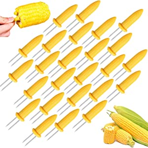 OJYUDD 25 PCS Stainless Steel Corn Holders,Corn BBQ Skewers,Corn Forks,Corn On The Cob Holders for Home Cooking,Cob Skewers,BBQ Party,Grill Food Twin Prong,Sweetcorn Holder Fork and Kitchen Tool