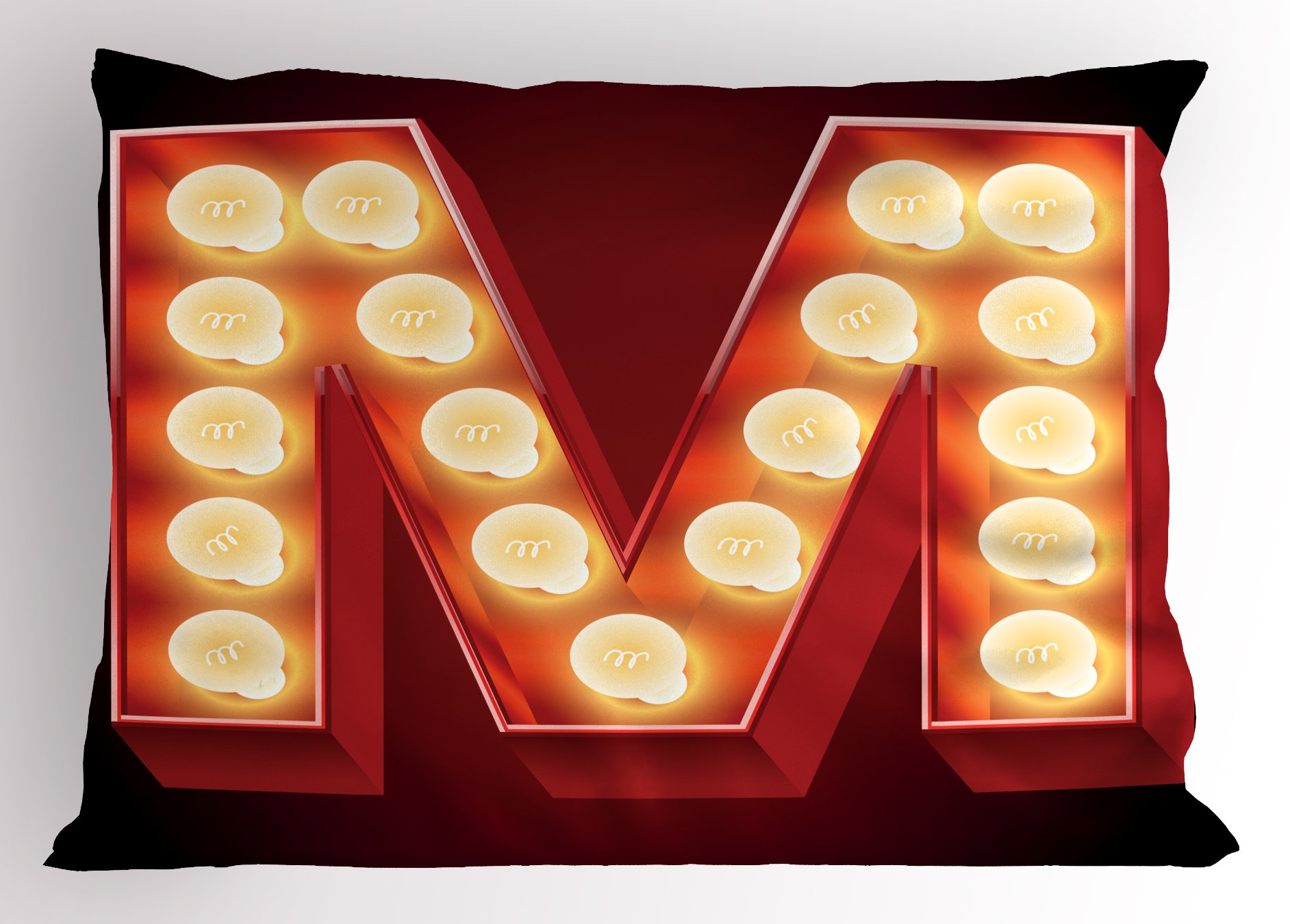 Ambesonne Letter M Pillow Sham, Vintage Alphabet Collection of Old Movie Theaters Casinos Retro Type, Decorative Standard King Size Printed Pillowcase, 36 X 20 inches, Vermilion Yellow Black