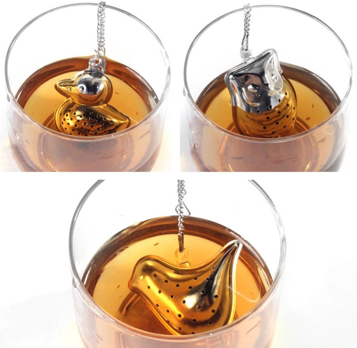 Milya 3 St/ück Set 304 Edelstahl Tee-Ei Teesieb Teekugel Teefilter Filter Tee Werkzeuge Tee Leckage Blume Tee Filter Set mit Mini Kleiner Teller Tier-Serie
