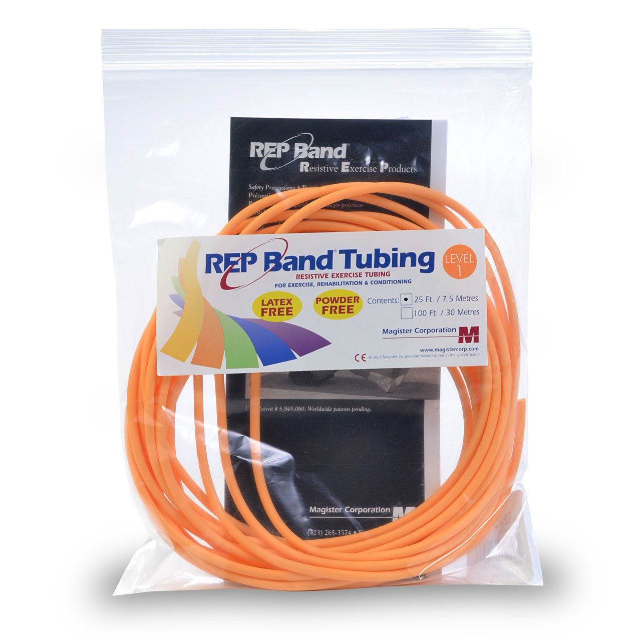 Medical Line REP Band Exercise Tubing Cords (25 Foot Peach)