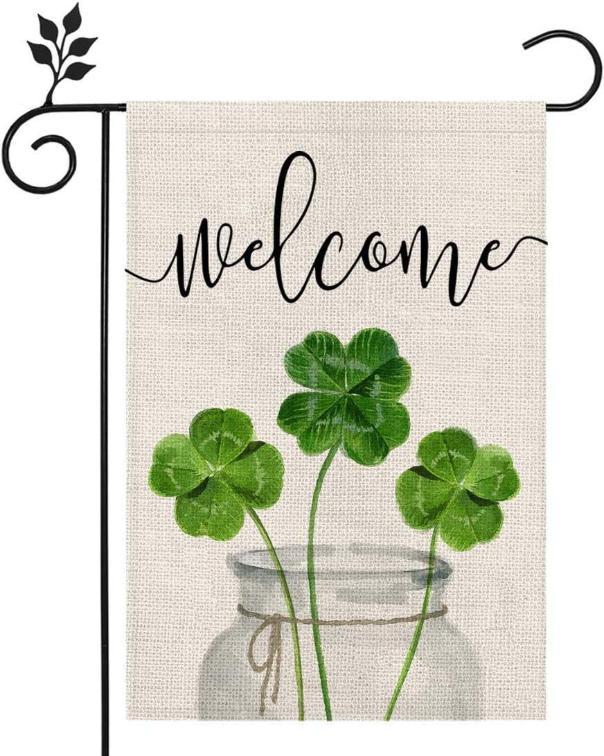 CROWNED BEAUTY St Patricks Day Garden Flag 12×18 Inch Shamrock Welcome Small Vertical Double Sided Green Parade Holiday Outside Décor for Yard Farmhouse CF047-12