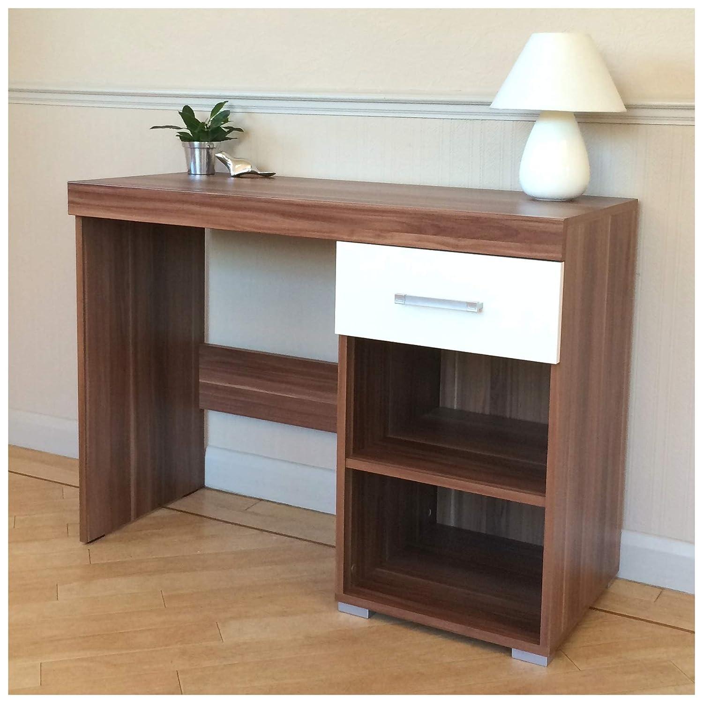 DRP Trading White & Walnut Dressing Table - 1 Drawer & Shelf - Vanity Unit or Small Desk