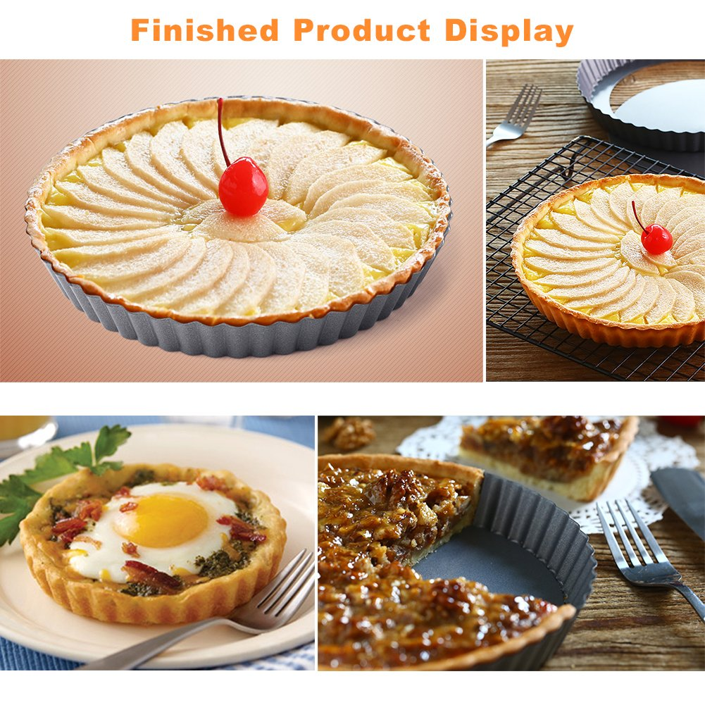 Quiche Pans, Homono Commercial Grade Non Stick Removable Bottom 5 Inch Mini Tart Pans (Pack of 6) by HOMONO (Image #6)