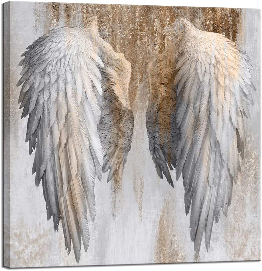 LevvArts Gold and Grey Wall Art Fashion Angel Wings Poster Painting Contemporary Artwork for Living Room Bedroom Wall Decoration Framed Ready to Hang Gift for Woman