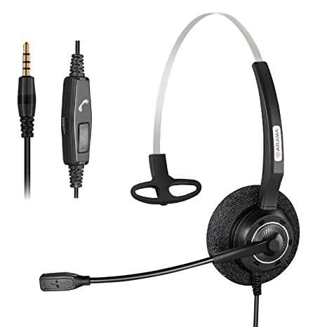 80d9213c07f Image Unavailable. Image not available for. Color: Arama 3.5mm Cell phone  Headset ...