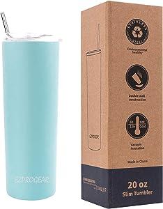 Ezprogear 20 oz Sky Blue Stainless Steel Slim Skinny Tumbler Vacuum Insulated with Straw (20 oz, Sky Blue)
