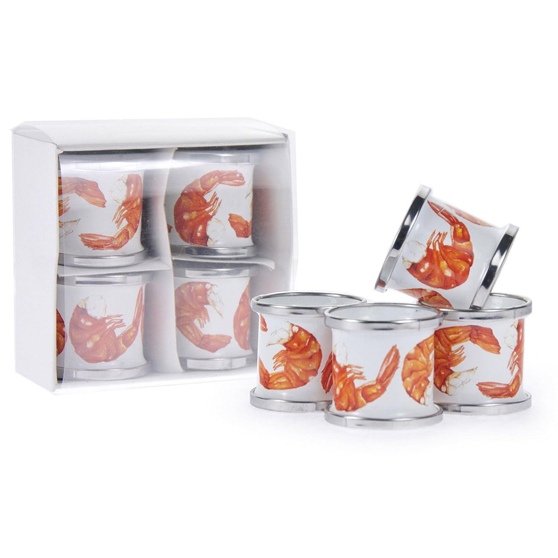 Golden Rabbit Shrimp Enamelwareナプキンリング、4のセット   B01MRCSDUE