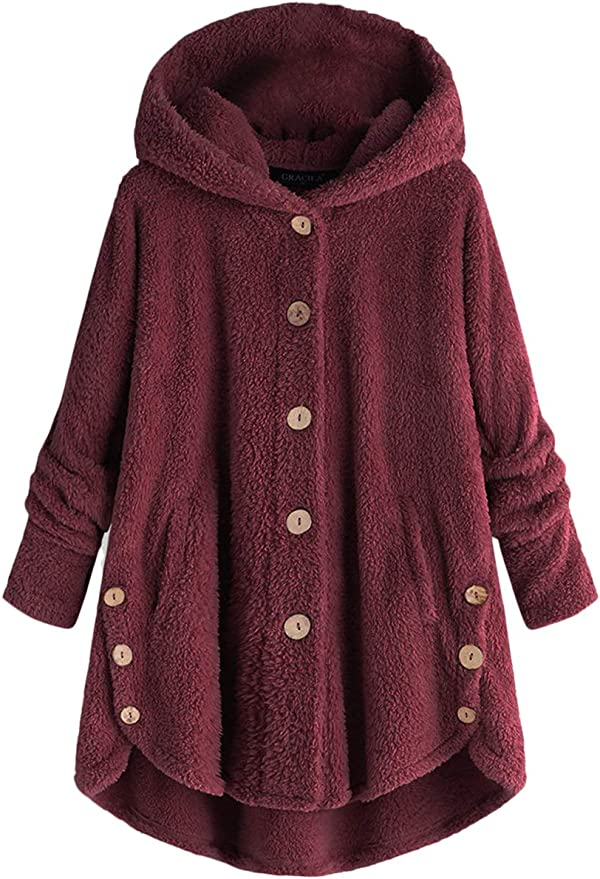 Kangma Ladies Womens Hooded Warm Woolen Faux Fur Coat Jacket Winter Parka Outerwear