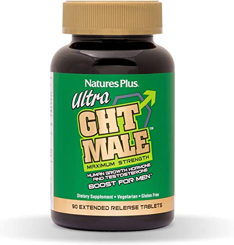 NaturesPlus Ultra GHT Male Extended Release Bilayer Tablets – 90 Vegetarian Supplements – Maximum Strength Natural Testosterone Human Growth Hormone Boost- Gluten-Free – 30 Servings