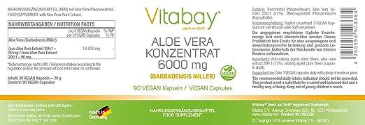 Aloe Vera Concentrate 6000 mg - 90 Veg. Cápsulas: Amazon.es: Salud y cuidado personal