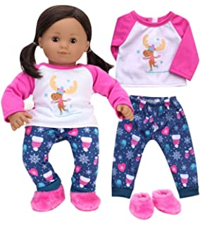 Sophias 15 Inch Bitty Baby Doll Clothes | Pajamas of Moose Print Winter PJs & Slippers