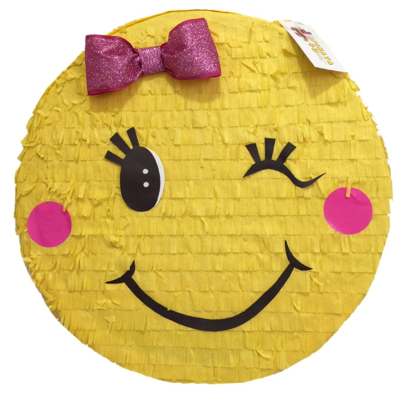 Toddler Girl Emoji Pinata with Eye Wink and Pink Bow