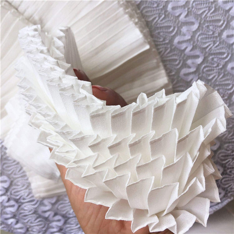 3 Gr/ö/ßen Baumwolle Leinen 3D Plissee Spitzenapplikation Schleifenbord/üre gefaltet N/ähen DIY Kragen Manschetten Dekoration Kleidung Material Zubeh/ör Wide 6cm Schwarz