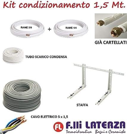 KIT MONTAGGIO CONDIZIONATORE CLIMATIZZATORE TUBI RAME 5 Mt 1//4-3//8 CARTELLATI