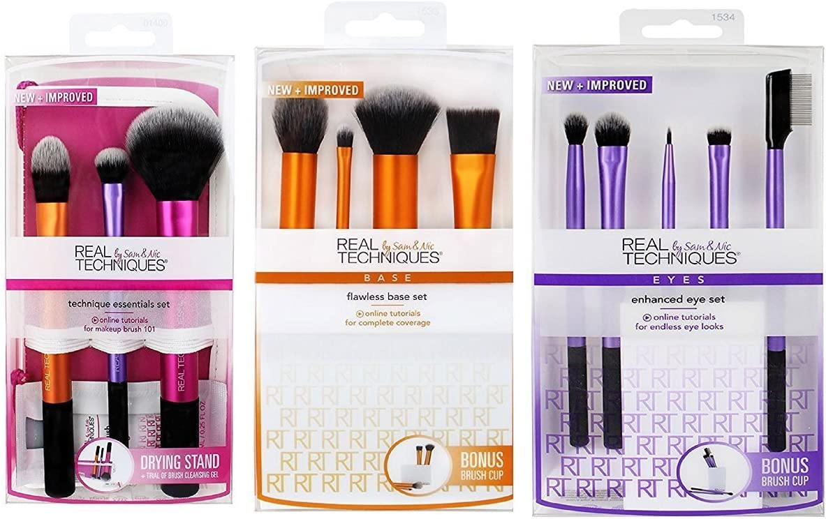 3 Real Techniques Brush Set (Travel Essential 1400, Starter Set 1406, Core Collection 1403) by Real Techniques: Amazon.es: Belleza