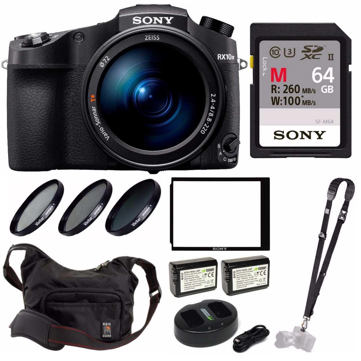 Sony Cyber‑Shot RX10 IV with 0 03 Second Auto-Focus & 25x Optical Zoom  (DSC-RX10M4) Pro Bundle (Sony 64GB M Ca
