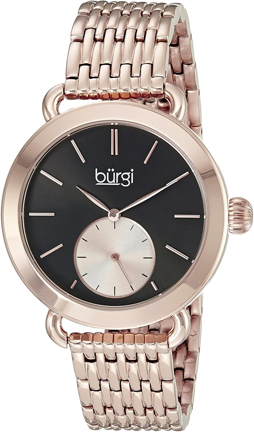 [バージ]Burgi 腕時計 Round Black Dial Two Hand Quartz Stainless Steel Bracelet Watch BUR153RG レディース [並行輸入品]