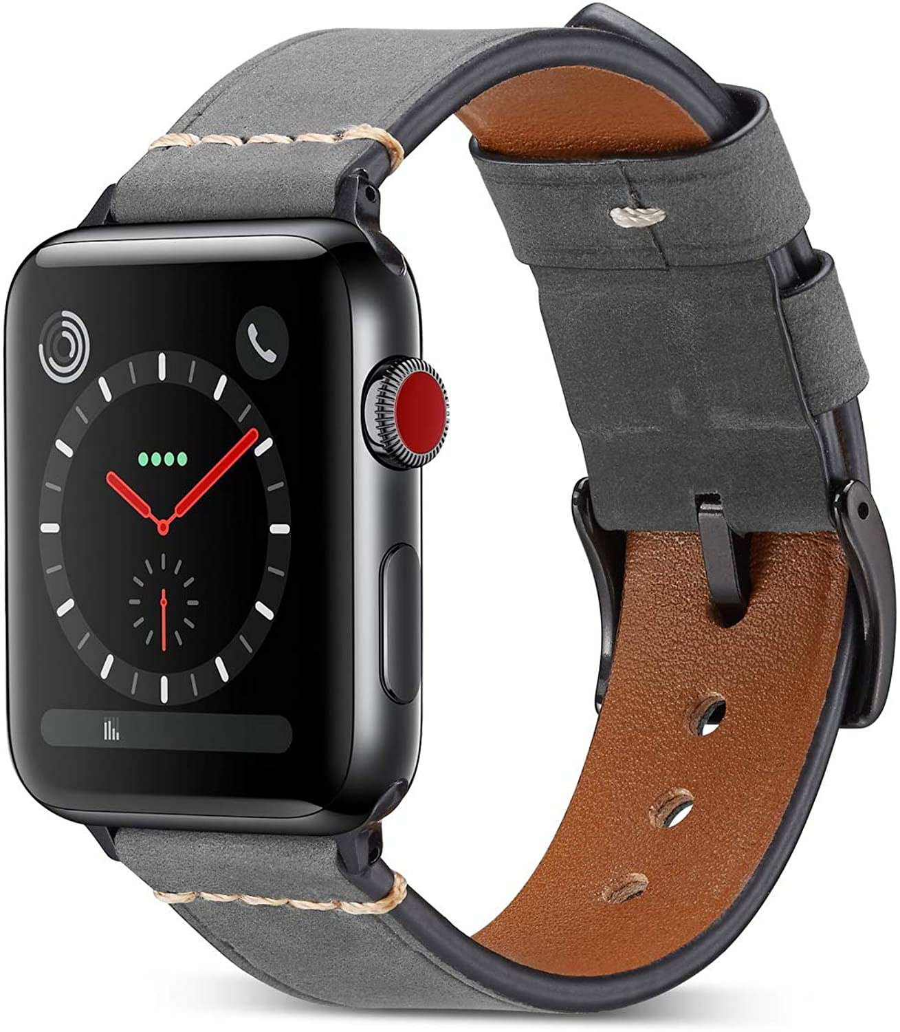DaGeLon Compatible with Apple Watch Band 38mm 40mm Series 6 SE Series 5 Series 4 3 2 1, Frosted Leather Wristband Elegant Replacement Strap Durable Watchband for iWatch Sport Edition Nike+, Gray