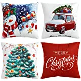 WLNUI Christmas Pillow Covers 18x18 Soft Velvet Merry Christmas Tree Car Snowman Decorative Throw Pillow Covers Square…