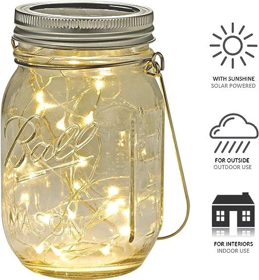 lampada Gartendeko Lampada SOLARE IN BARATTOLO 4 Solare LED Lampada Solare come vetro