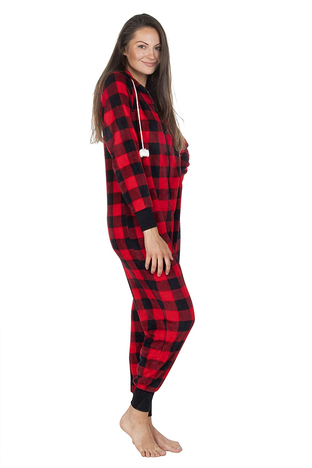 Totally Pink Womens Warm and Cozy Plush Adult Onesies for Women One Piece Novelty Pajamas