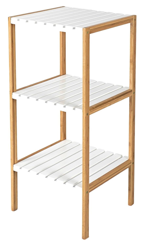 elbmoebel Wood Bamboo rack 3-tier or 4-tier shelves for bathroom hallways kitchens - Ideal corner wooden shoe towel storage bookcase shelf in brown and white 100cm 80cm (80x34x33 cm, White) elbmöbel
