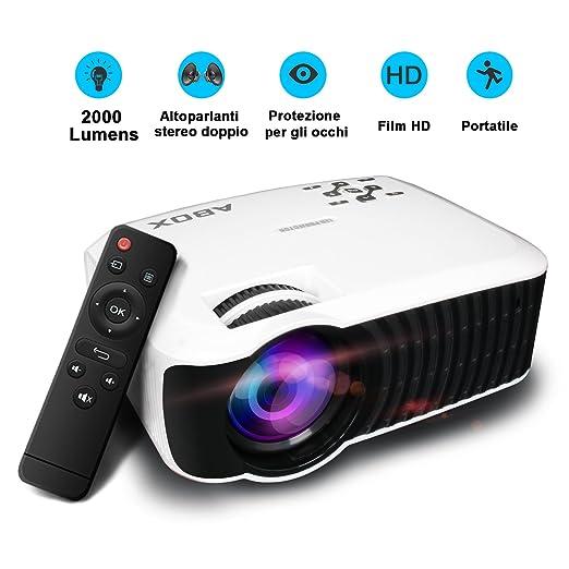 105 opinioni per Video Proiettore 2000 Lumens, ABOX T22 LED Mini Videoproiettore Supporto 1080P