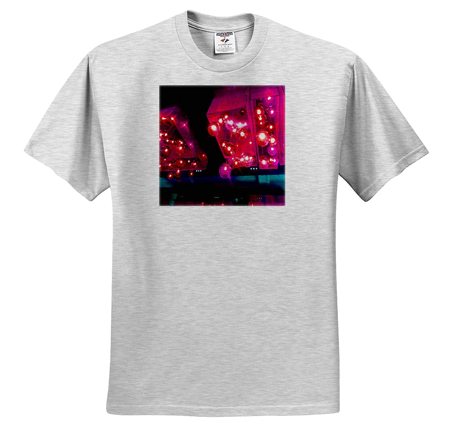 T-Shirts Pink Glowing Lights with Blue in Las Vegas on a Building 3dRose Jos Fauxtographee Vegas Lights in Pink