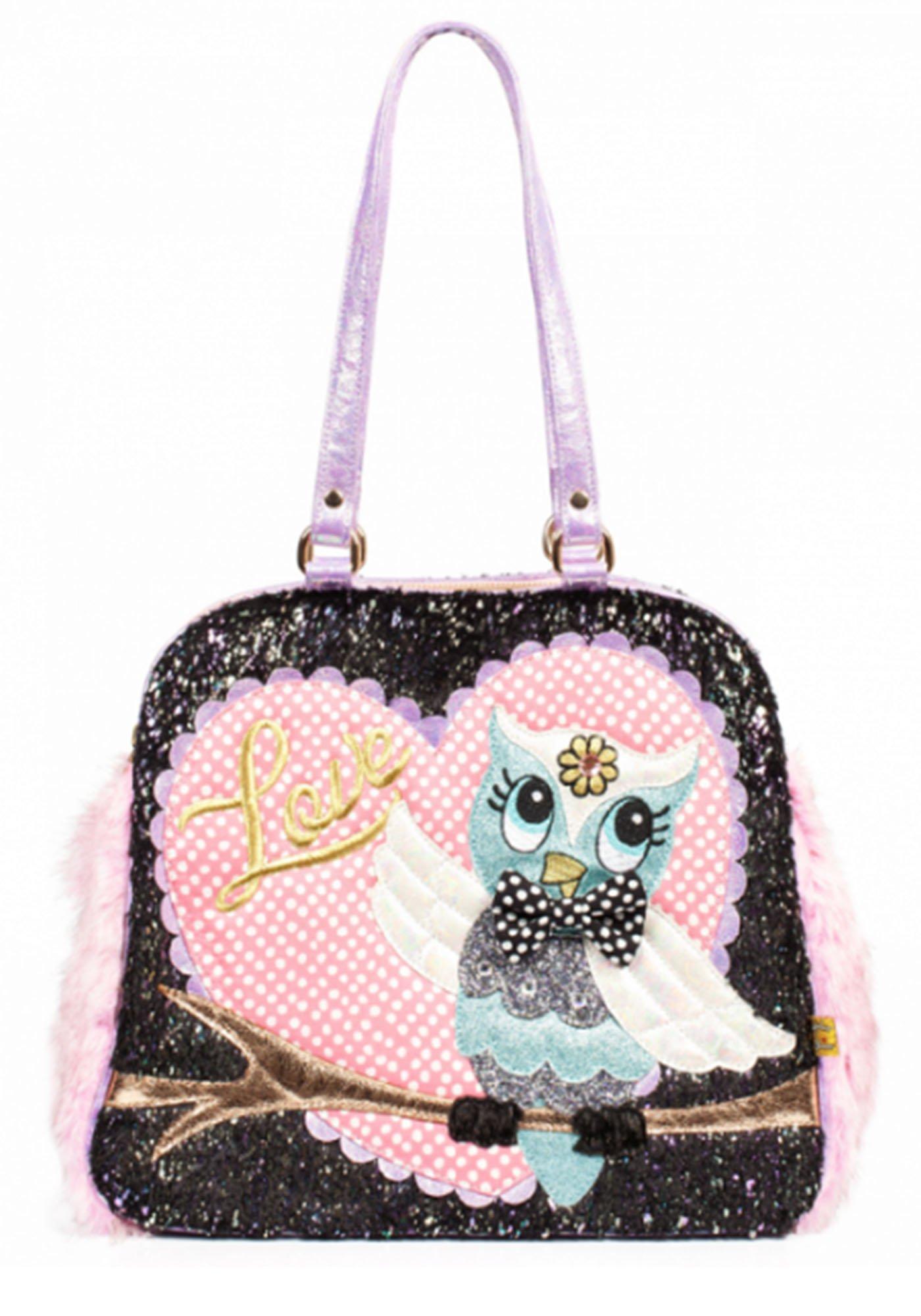 Irregular Choice What A Hoot Owl Love Faux Fur Novelty Handbag (One Size, Black & Pink)