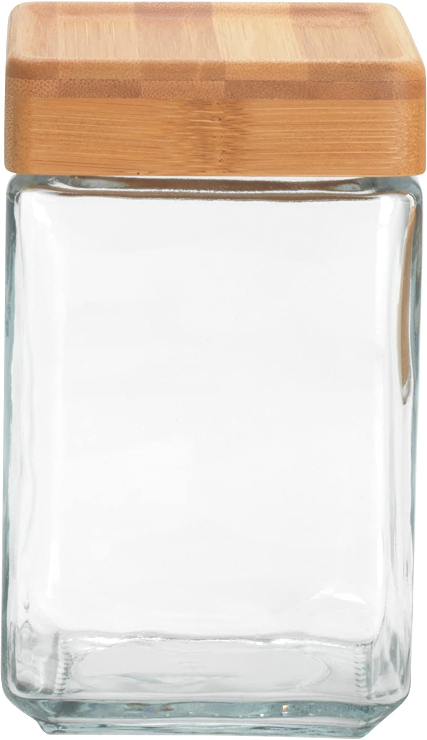 Anchor Hocking 1.5-Quart Stackable Jars with Bamboo Lids, Set of 4